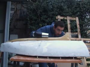 Alessandro Calabrò testing the wooden keel hydrodynamics.
