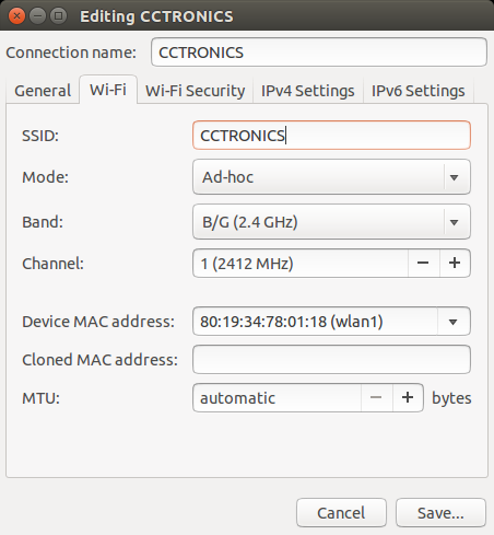 Wifi Settings To Access CCTronics - Ad-Hoc Mode